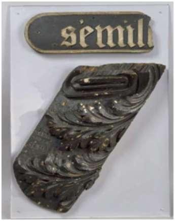 Un morceau de l'épave conservé au Musée de la Marine de Port-Louis